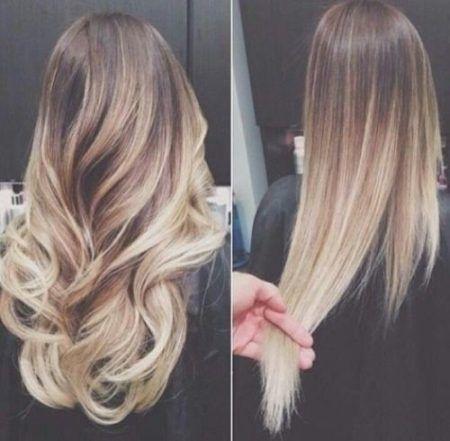 cabelos modernos com luzes longos