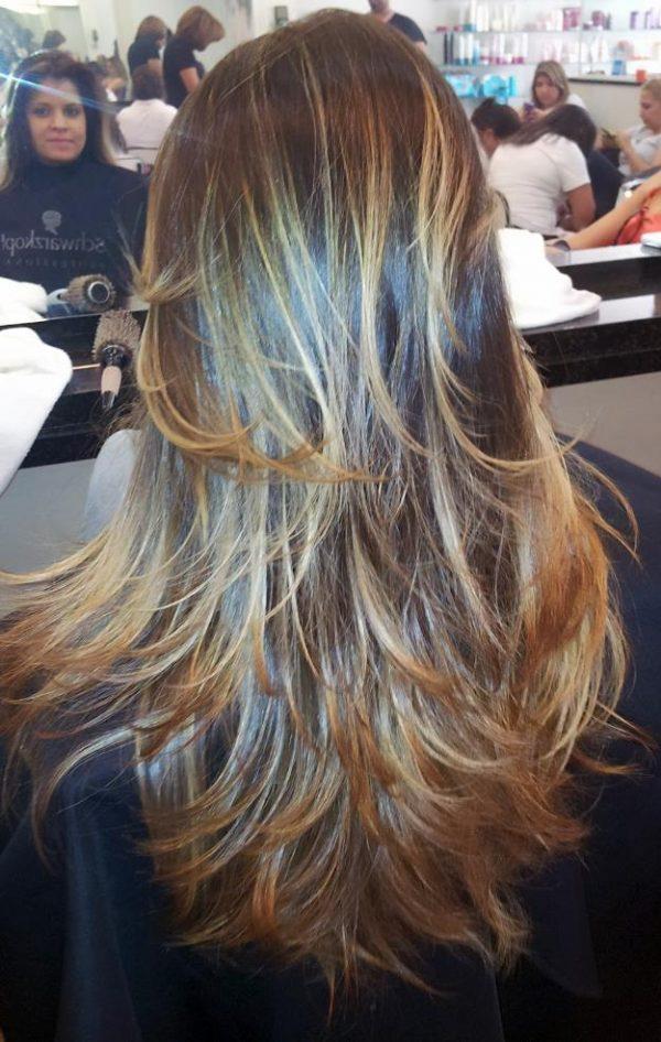 luzes em cabelos longos
