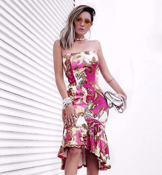 vestido tomara que caia florido