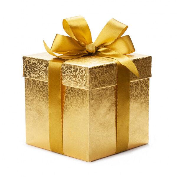 caixa dourada de presente